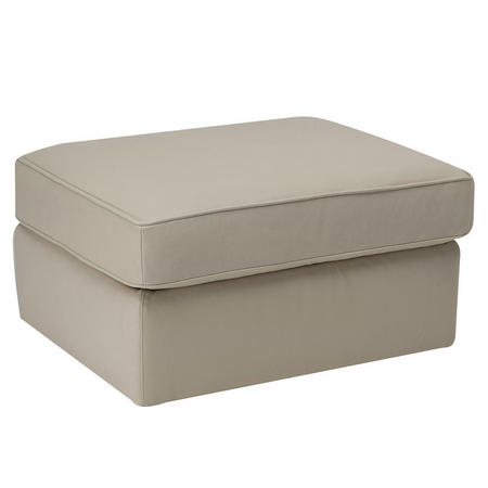 A921 Rectangular Leather Storage Ottoman Beige