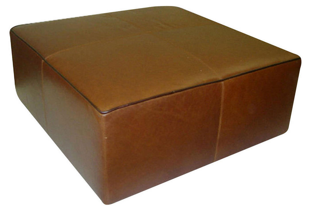 A921 Large Leather Square Ottoman Brown