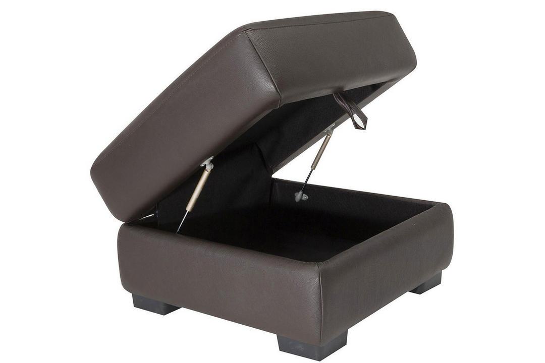 A921 Square Leather Storage Ottoman Dark Brown
