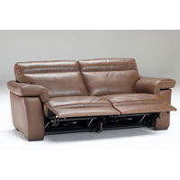 B757 Brivido Medium Leather Sofa With Two Power Recliners