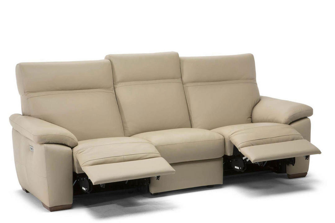 C007 Empatia Large Leather Sofa With Two Recliners 10BL