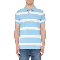 Contrast Collar Striped Polo Shirt