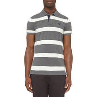 Contrast Collar Striped Polo Shirt