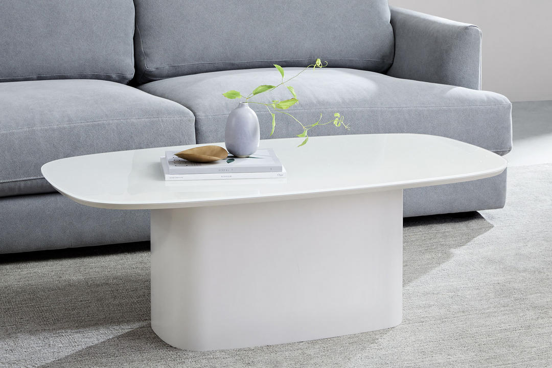 Superellipse Coffee Table, Salt Veneer/Lacquer