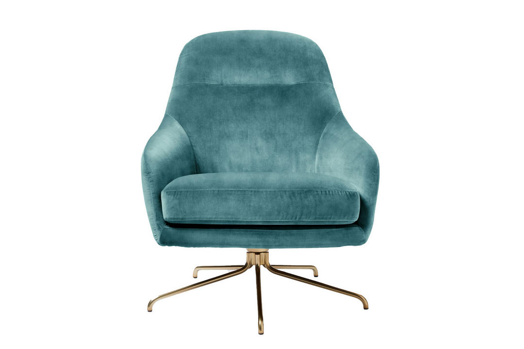 Lucia Swivel Chair Steel Blue Luxe Velvet