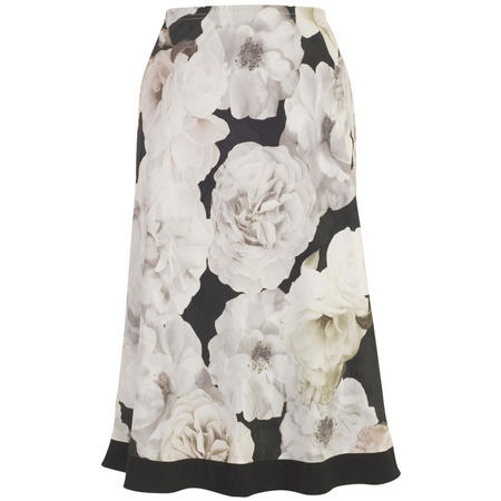 Contrast Trim Rose Print Skirt Blush