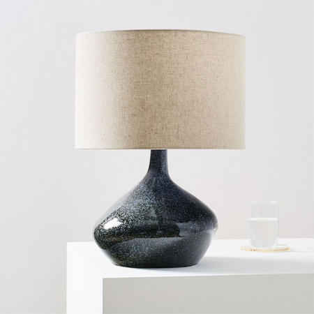 Tumbled Glass Table Lamp Brass And Milk Glass