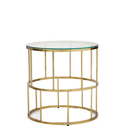 Deco Lattice Side Table Brass And Glass