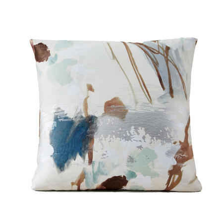 Gilded Water Colour 51cm X 51cm Pillow Cover Brocade Blue