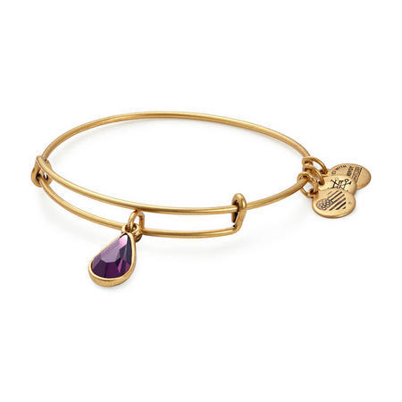 Swarovski Teardrop February Amethyst Rafaelian Gold Purple