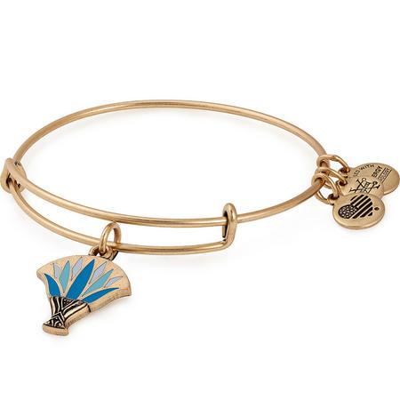 Blue Lotus Charm Bangle Gold