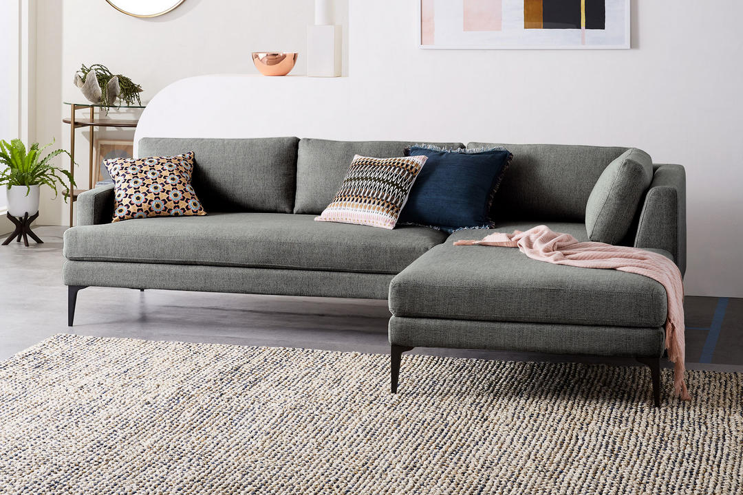 Andes Sectional RHF Chaise Gravel Twill