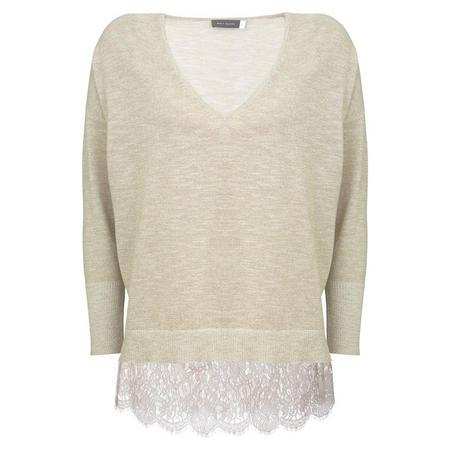 Metallic V-Neck Knit With Cami Cream