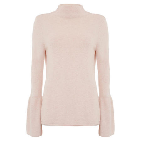 Petal Fluted Grown On Neck Knit Pink