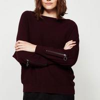 Bordeaux Zip Sleeve Batwing Knit Red