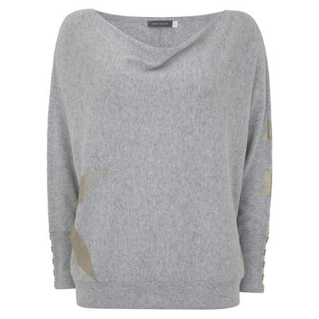 Gold Foil Star Batwing Knit Grey