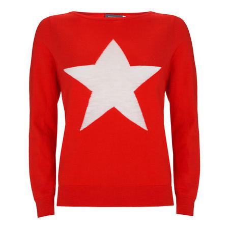 Star Intarsia Knit Red