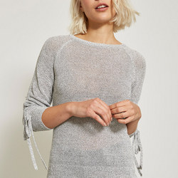 Ruched Sleeve Knit