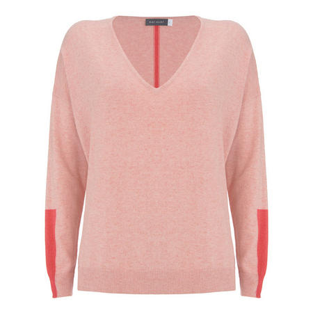 Nude & Raspberry V-Neck Knit