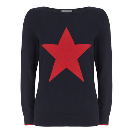 Navy Star Front Crew Neck Knit