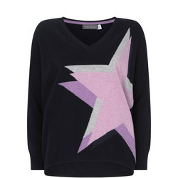 Star V-Neck Cocoon Sweater