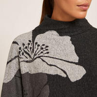 Abstract Floral Batwing Sweater
