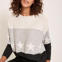 Blocked Star Batwing Sweater