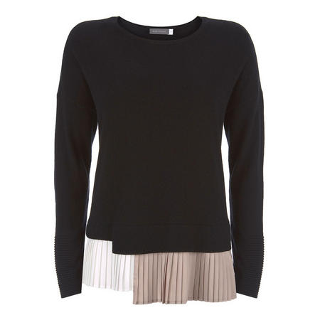 Black Pleated Layered Sweater