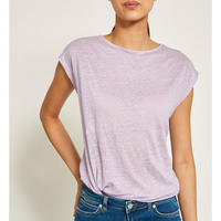 Lilac Cross Back Linen Tee Purple