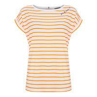 Neon Orange Striped Cotton Tee