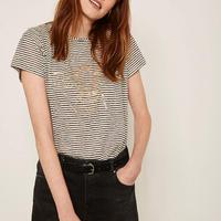 Striped Bee Foil Print T-Shirt