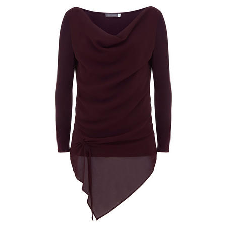 Bordeaux Ruched Front Layered Top Red