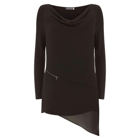 Black Zip Seam Layer Top Black