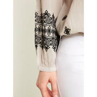 Latte Aztec Embroidered Blouse