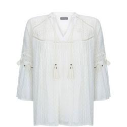 Ivory Tasselled Boho Top White
