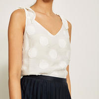Ivory Circle Textured Cami White