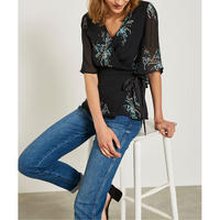 Jane Print Georgette Wrap Top