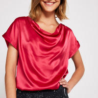 Sand-Washed Satin Top