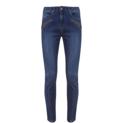 Darby Authentic Indigo Biker Skinny Jean Blue