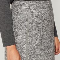 Grey Textured Zip Detail Skirt Grey