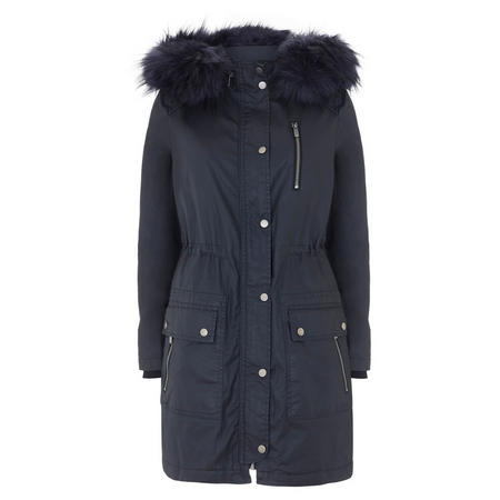 Navy Waxed Faux Fur Parka Blue