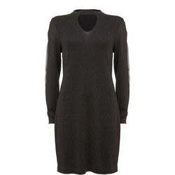 Black Sheer Sleeve Knit Dress Black