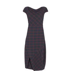 Ink Check Buttoned-Hem Dress