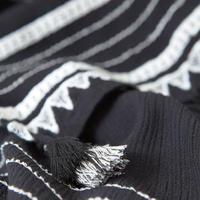 Black Embroidered Tassel Scarf Black