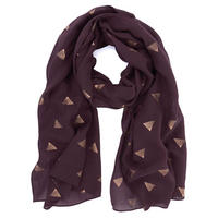 Bordeaux Foil Printed Scarf Red