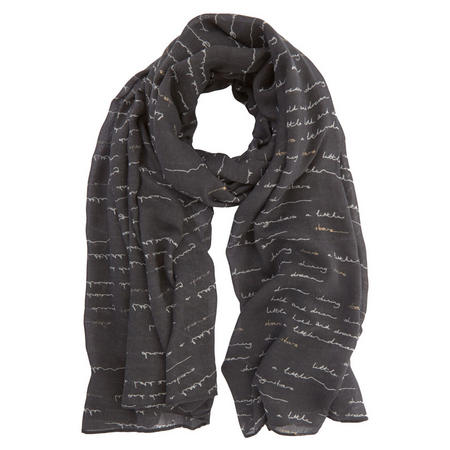 Handwritten Foil Detail Scarf Black