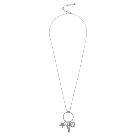 Silver Tone Charm Star Necklace Silver