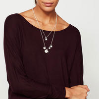 Double Layer Sphere & Star Necklace Silver