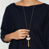 Gold Two Stone Tassel Pendant