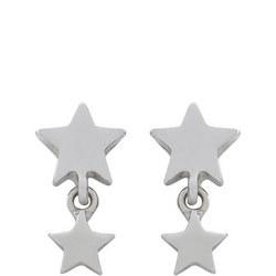 Silver Tone Star Drop Earrings